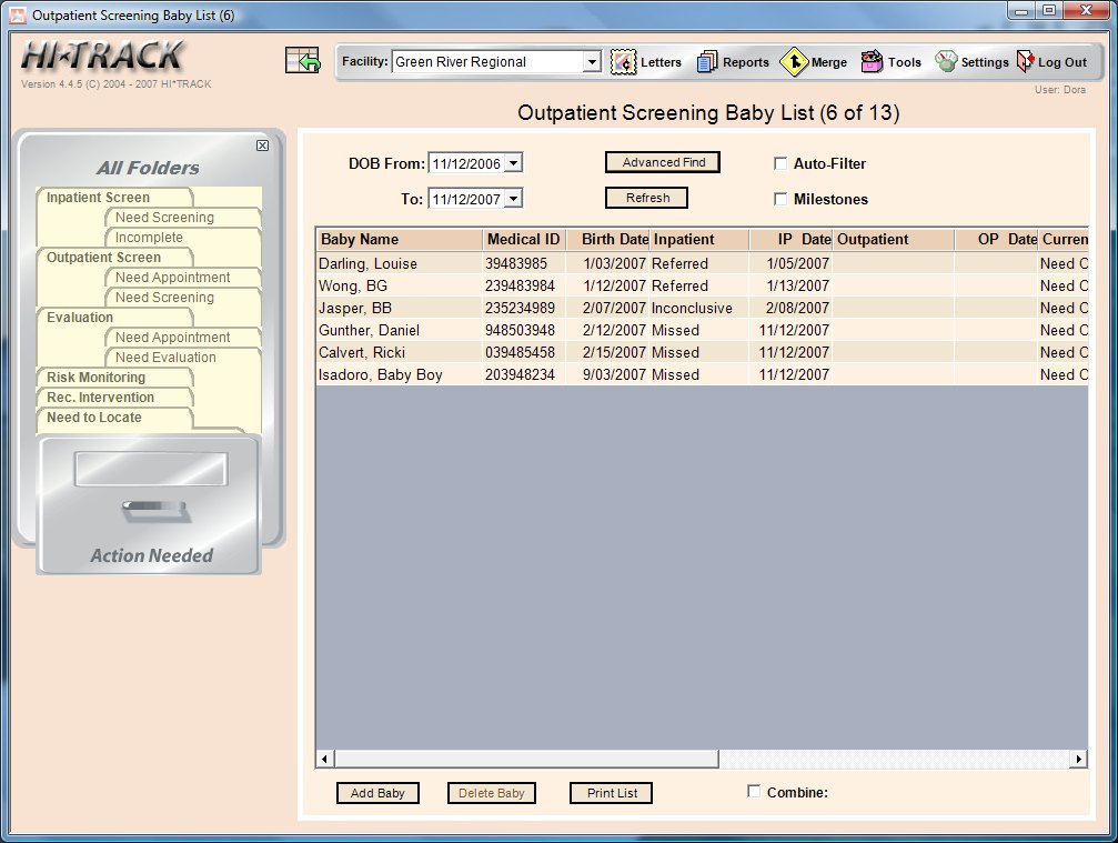 HiTrack Software Screenshot